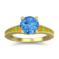 Swiss Blue Topaz Classic Pave Vati Ring with Citrine and Peridot in 18k Yellow Gold