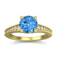Swiss Blue Topaz Classic Pave Vati Ring with Diamond in 14k Yellow Gold