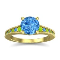 Swiss Blue Topaz Classic Pave Vati Ring with Peridot in 18k Yellow Gold