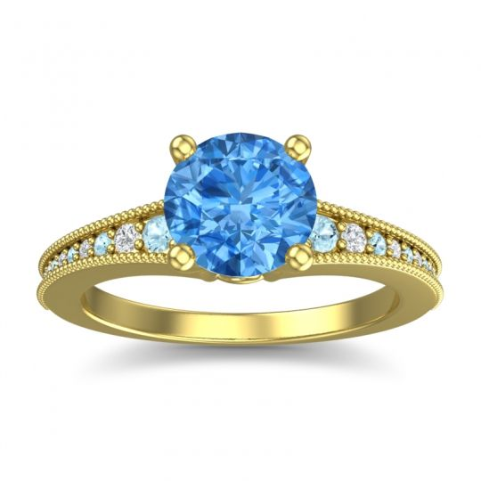 Swiss Blue Topaz Classic Pave Vati Ring with Aquamarine and Diamond in 14k Yellow Gold