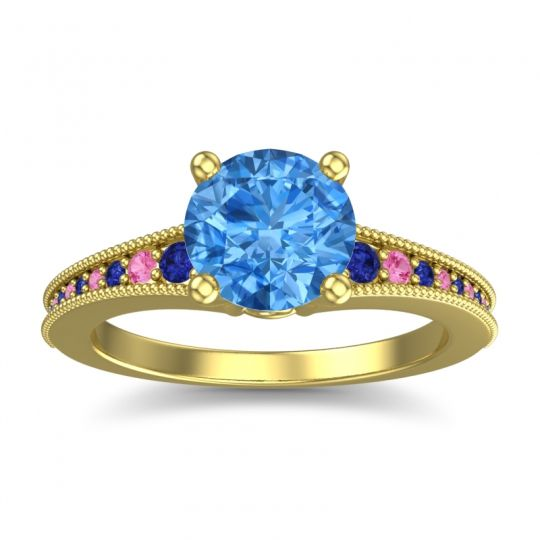 Swiss Blue Topaz Classic Pave Vati Ring with Blue Sapphire and Pink Tourmaline in 14k Yellow Gold
