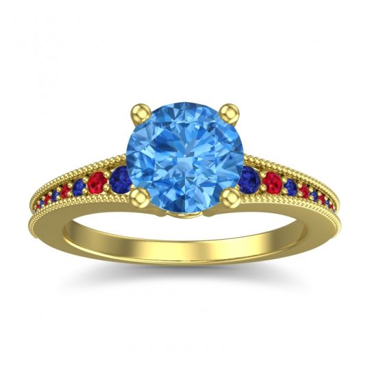 Swiss Blue Topaz Classic Pave Vati Ring with Blue Sapphire and Ruby in 14k Yellow Gold
