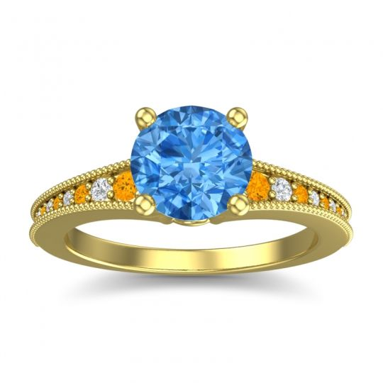 Swiss Blue Topaz Classic Pave Vati Ring with Citrine and Diamond in 14k Yellow Gold