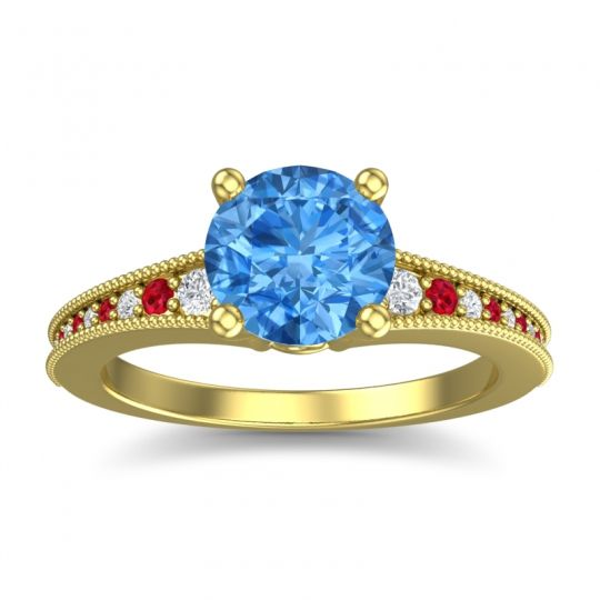 Swiss Blue Topaz Classic Pave Vati Ring with Diamond and Ruby in 14k Yellow Gold