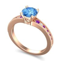 Swiss Blue Topaz Classic Pave Vati Ring with Amethyst and Diamond in 14K Rose Gold