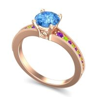 Swiss Blue Topaz Classic Pave Vati Ring with Amethyst and Peridot in 18K Rose Gold