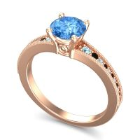 Swiss Blue Topaz Classic Pave Vati Ring with Aquamarine and Black Onyx in 14K Rose Gold