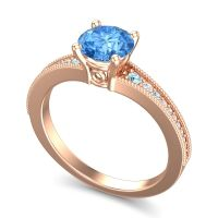 Swiss Blue Topaz Classic Pave Vati Ring with Aquamarine and Diamond in 18K Rose Gold