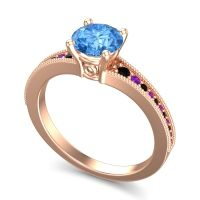 Swiss Blue Topaz Classic Pave Vati Ring with Black Onyx and Amethyst in 18K Rose Gold