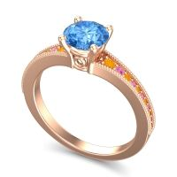 Swiss Blue Topaz Classic Pave Vati Ring with Citrine and Pink Tourmaline in 14K Rose Gold