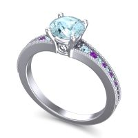 Aquamarine Classic Pave Vati Ring with Amethyst in 18k White Gold