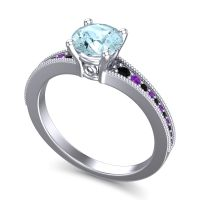 Aquamarine Classic Pave Vati Ring with Black Onyx and Amethyst in 18k White Gold