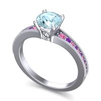 Aquamarine Classic Pave Vati Ring with Pink Tourmaline and Amethyst in 18k White Gold