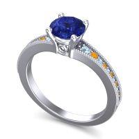 Blue Sapphire Classic Pave Vati Ring with Aquamarine and Citrine in Palladium