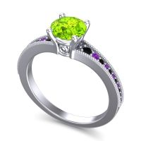Peridot Classic Pave Vati Ring with Black Onyx and Amethyst in 18k White Gold