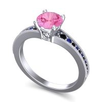 Pink Tourmaline Classic Pave Vati Ring with Black Onyx and Blue Sapphire in 18k White Gold