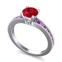 Ruby Classic Pave Vati Ring with Amethyst and Pink Tourmaline in 14k White Gold