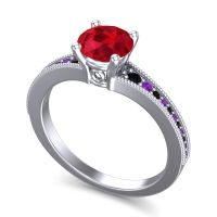 Ruby Classic Pave Vati Ring with Black Onyx and Amethyst in 18k White Gold