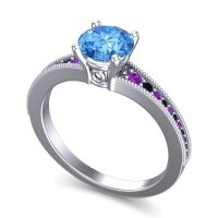 Swiss Blue Topaz Classic Pave Vati Ring with Amethyst and Black Onyx in 14k White Gold