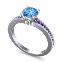 Classic Pave Vati Swiss Blue Topaz Ring with Amethyst and Blue Sapphire in 18k White Gold