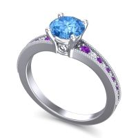 Swiss Blue Topaz Classic Pave Vati Ring with Amethyst and Diamond in Platinum