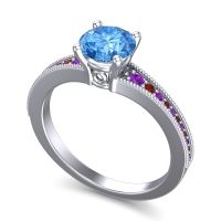 Swiss Blue Topaz Classic Pave Vati Ring with Amethyst and Garnet in Platinum