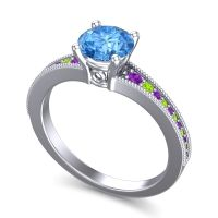 Swiss Blue Topaz Classic Pave Vati Ring with Amethyst and Peridot in Palladium