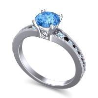 Swiss Blue Topaz Classic Pave Vati Ring with Aquamarine and Black Onyx in Palladium