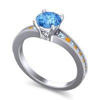 Swiss Blue Topaz Classic Pave Vati Ring with Aquamarine and Citrine in Platinum