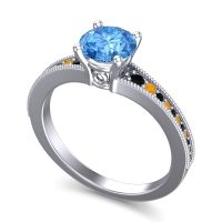 Swiss Blue Topaz Classic Pave Vati Ring with Black Onyx and Citrine in 18k White Gold
