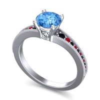Swiss Blue Topaz Classic Pave Vati Ring with Black Onyx and Ruby in Platinum