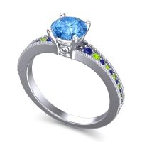 Swiss Blue Topaz Classic Pave Vati Ring with Blue Sapphire and Peridot in Platinum