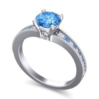 Swiss Blue Topaz Classic Pave Vati Ring with Diamond in 18k White Gold