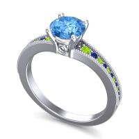 Swiss Blue Topaz Classic Pave Vati Ring with Peridot and Blue Sapphire in Platinum