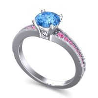 Swiss Blue Topaz Classic Pave Vati Ring with Pink Tourmaline in 14k White Gold