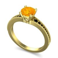 Citrine Classic Pave Vati Ring with Black Onyx in 18k Yellow Gold