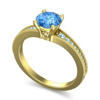 Swiss Blue Topaz Classic Pave Vati Ring with Aquamarine in 18k Yellow Gold