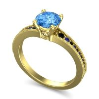 Swiss Blue Topaz Classic Pave Vati Ring with Black Onyx and Blue Sapphire in 18k Yellow Gold