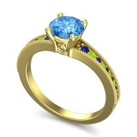 Swiss Blue Topaz Classic Pave Vati Ring with Blue Sapphire and Peridot in 18k Yellow Gold