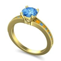 Swiss Blue Topaz Classic Pave Vati Ring with Citrine in 14k Yellow Gold