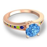 Swiss Blue Topaz Classic Pave Vati Ring with Blue Sapphire and Peridot in 14K Rose Gold