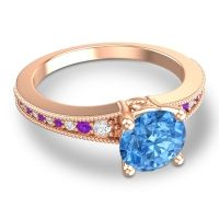 Swiss Blue Topaz Classic Pave Vati Ring with Diamond and Amethyst in 18K Rose Gold