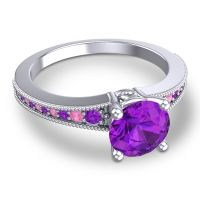 Classic Pave Vati Amethyst Ring with Pink Tourmaline in 14k White Gold