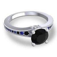 Black Onyx Classic Pave Vati Ring with Blue Sapphire in 18k White Gold