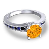 Citrine Classic Pave Vati Ring with Black Onyx and Blue Sapphire in 18k White Gold