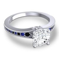 Diamond Classic Pave Vati Ring with Black Onyx and Blue Sapphire in 18k White Gold