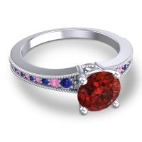 Garnet Classic Pave Vati Ring with Blue Sapphire and Pink Tourmaline in 14k White Gold