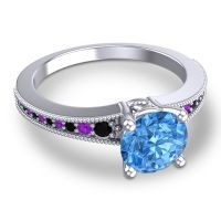 Swiss Blue Topaz Classic Pave Vati Ring with Black Onyx and Amethyst in 18k White Gold