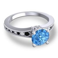 Swiss Blue Topaz Classic Pave Vati Ring with Black Onyx and Diamond in 18k White Gold