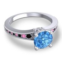 Swiss Blue Topaz Classic Pave Vati Ring with Black Onyx and Pink Tourmaline in 18k White Gold